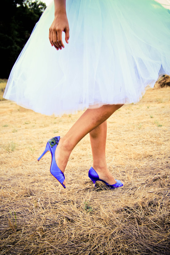 Blue Satin Peep Toe Bridal Heels