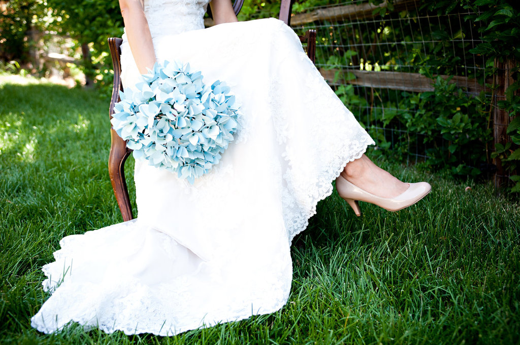 Wedding Bouquet Light Blue Paper Hydrangeas