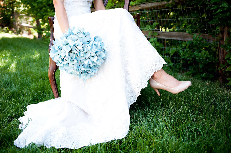 Alternative Wedding Bouquet Light Blue Paper Hydrangeas