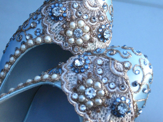 Embellished Bridal Ballet Flats Something Blue