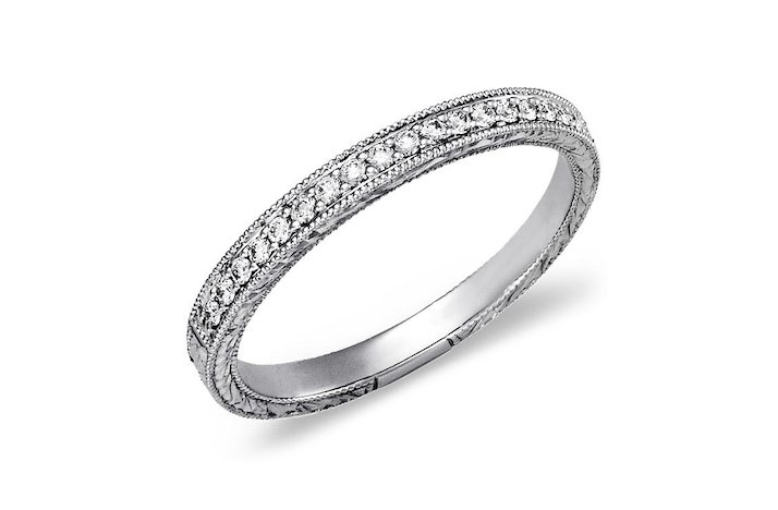 Blue Nile wedding ring Engraved Micropave