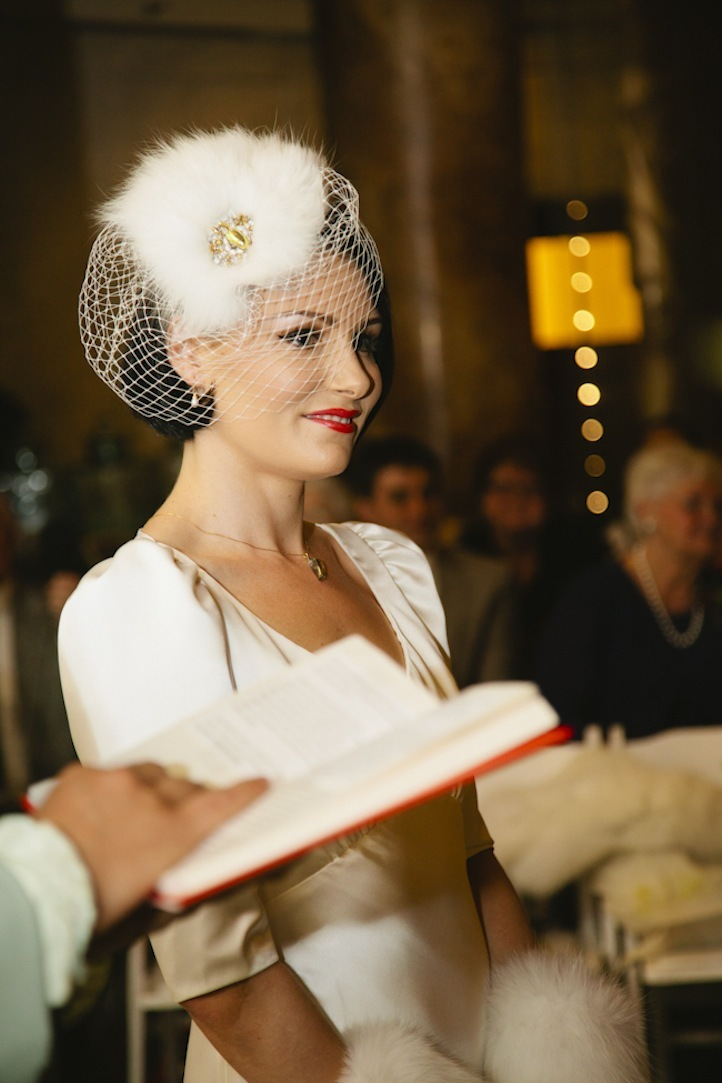 Retro Vintage Bride Smiles During Ceremony Vows