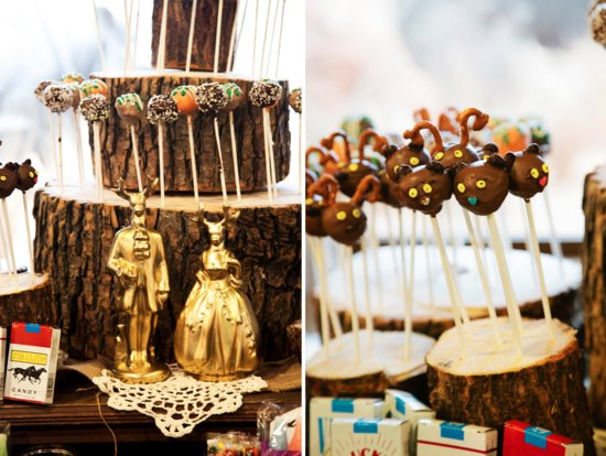 photo of Funky Wedding Cake Pops Rustic California Wedding Cake