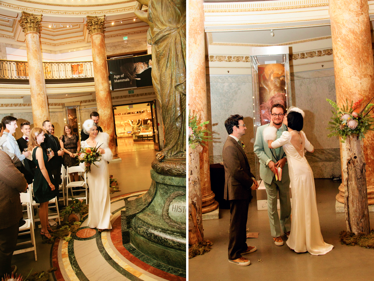 Retro-bride-and-groom-ceremony-vows-at-natural-history-museum.original