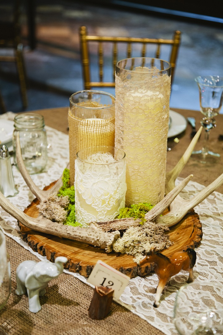 Lace and Burlap Wedding Reception Table Accents | OneWed.com