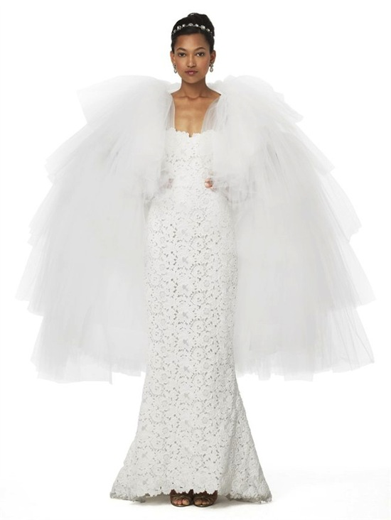Dramatic Tulle Bridal Cape by Oscar de la Renta