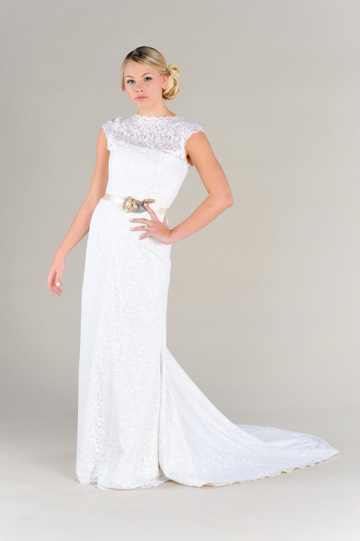 Lace illusion neckline wedding dress with sash for Lace wedding dress with illusion neckline