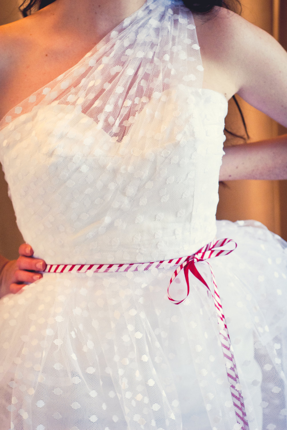 Sheer Polka Dot Net One Shoulder Wedding Dress