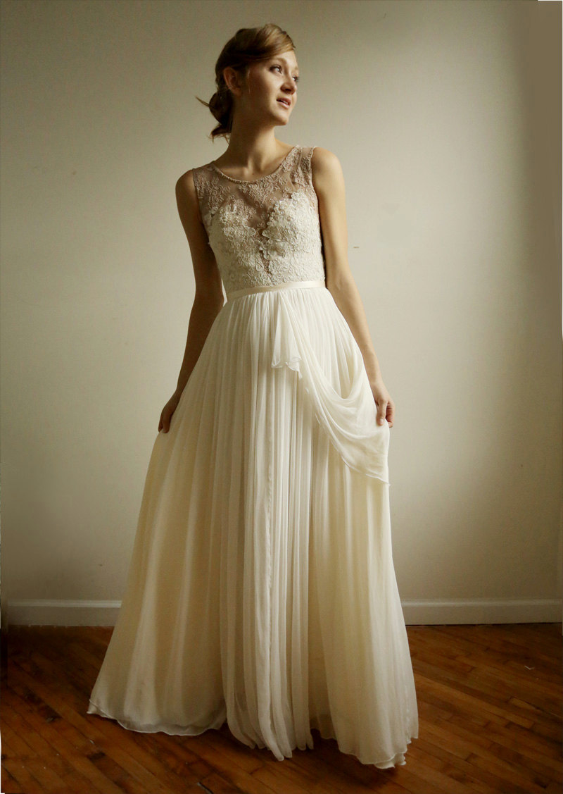 vintage inspired wedding dress with sheer lace neckline