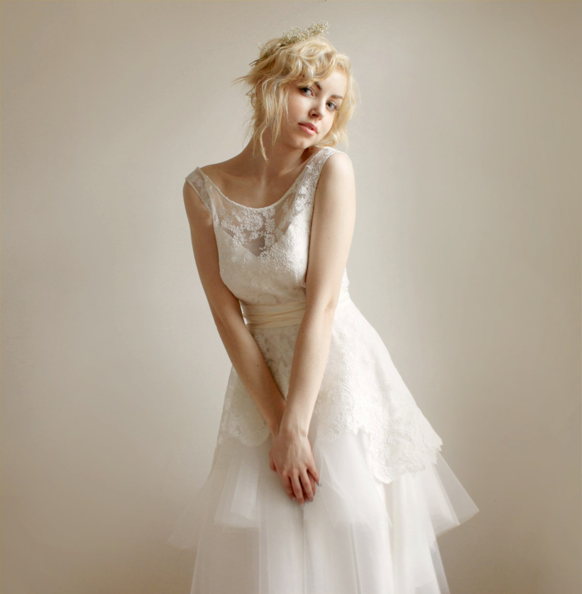 illusion neckline wedding dress sheer lace onewedcom With lace illusion neckline wedding dress