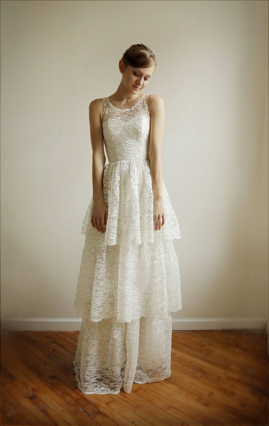 Lace illusion neckline bridesmaid dress