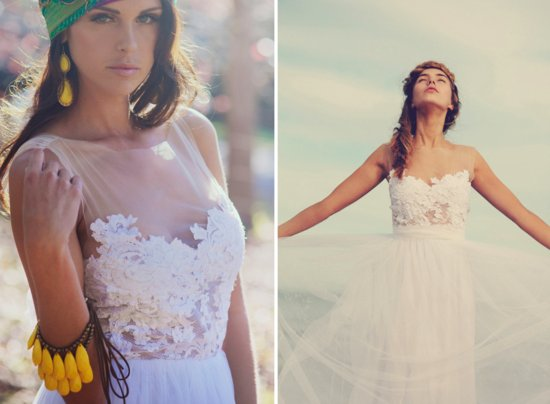 Illusion Neckline Romantic Wedding Dress