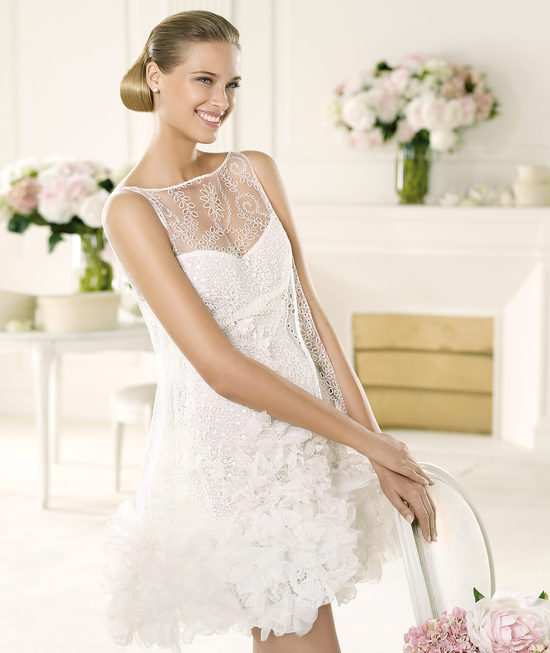 Adorable LWD with Sheer Neckline by Manuel Mota for Pronovias