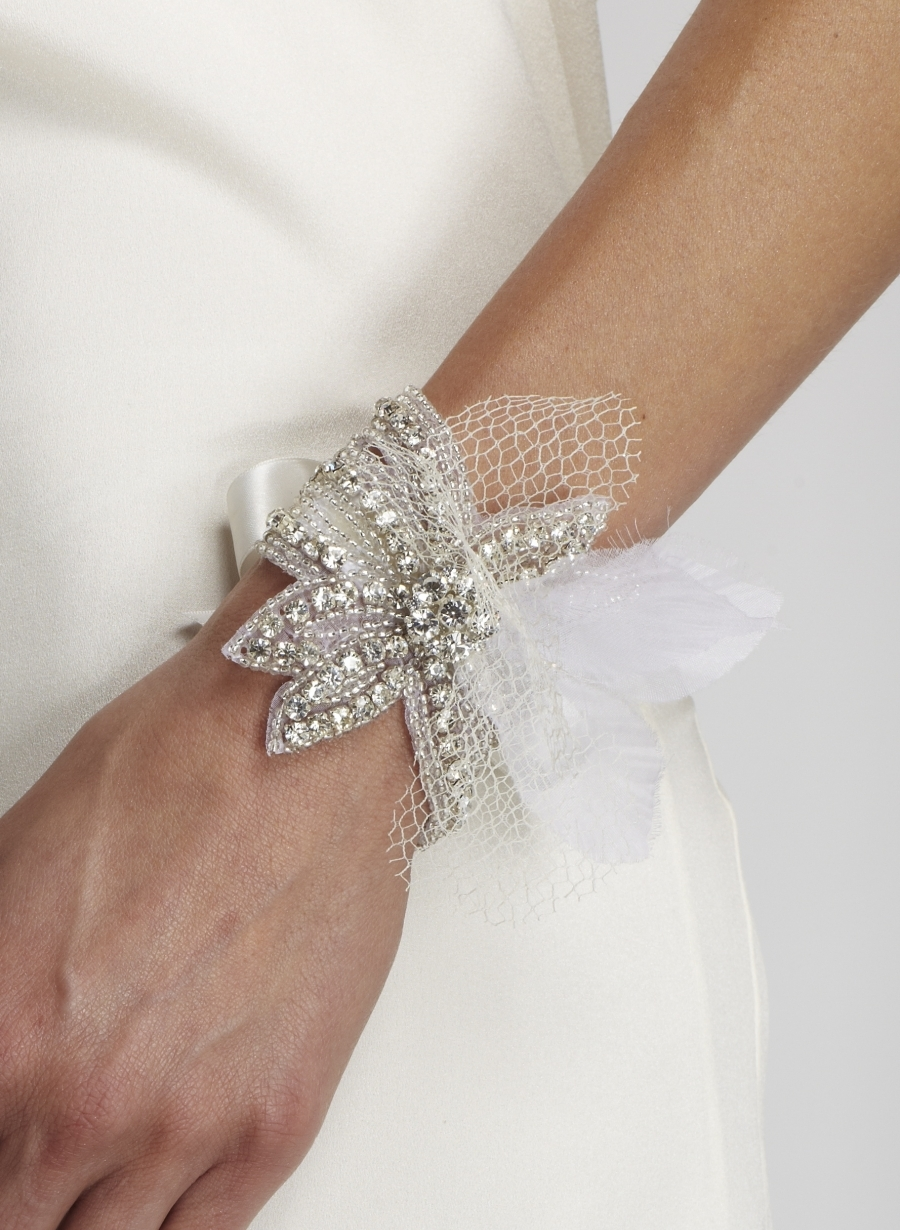 Gorgeous bridal cuff with rhinestones and tulle