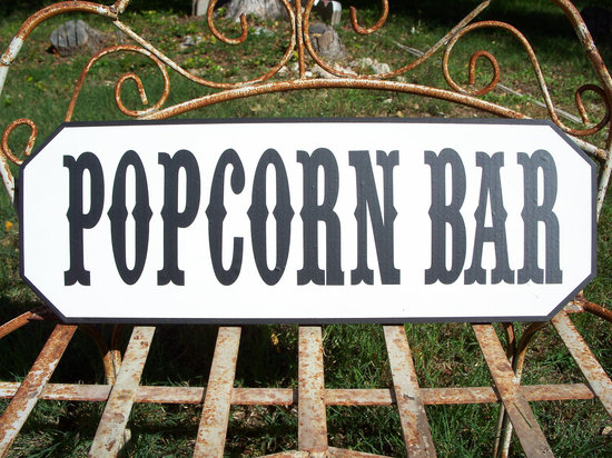 Carnival Wedding Theme Popcorn Bar Sign