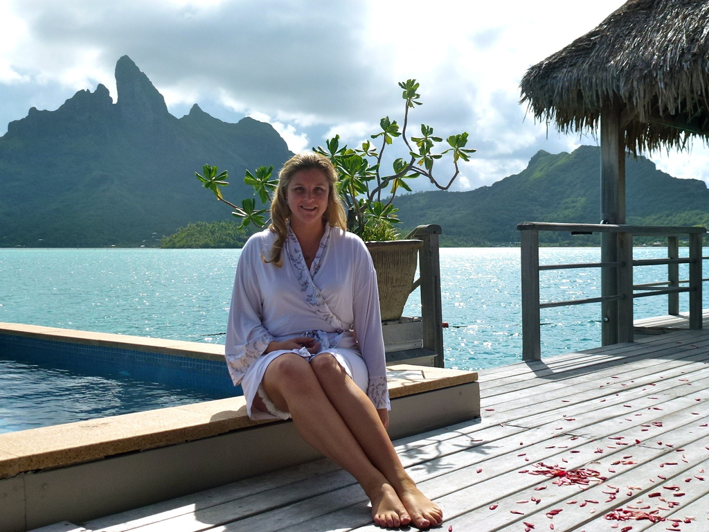 Bride on her honeymoon wearing eco chic robe