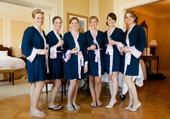 Navy Blue and Cherry Blossom Robes for Bridesmaids
