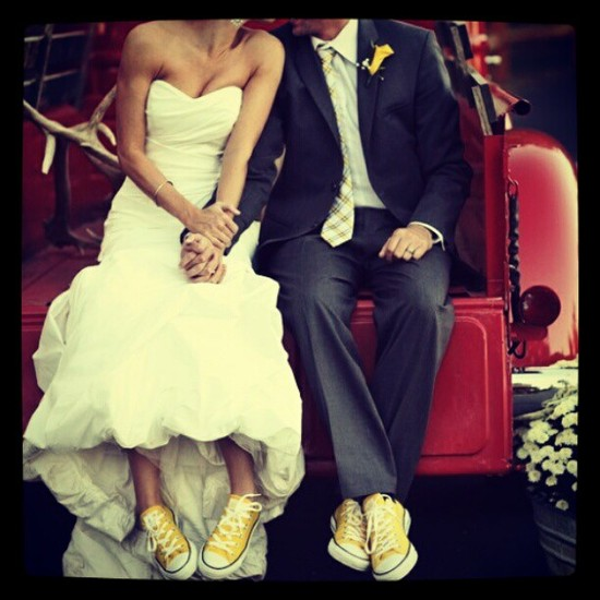 photo of Bride and Groom Wear Matching Shoes