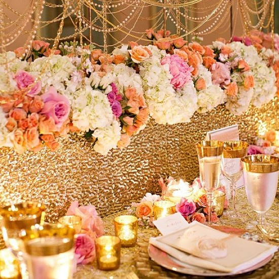 photo of Opulent Wedding Tablescape Gold with Peach Pink Ivory
