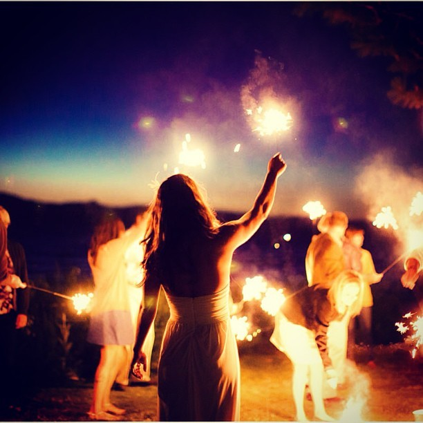 Outdoor Wedding Reception Fun with Sparklers