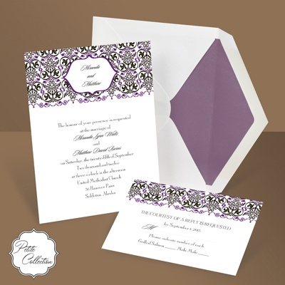 Filigree Whimsey in Grapevine - Petite Wedding Invitation