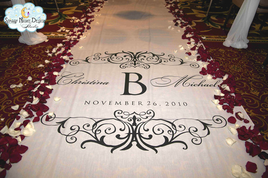 monogram aisle runners, custom aisle runners