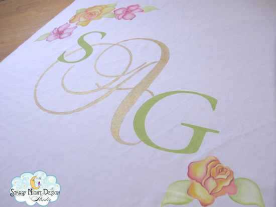 aisle runners, aisle runner, monogram aisle runners, hand painted aisle runners