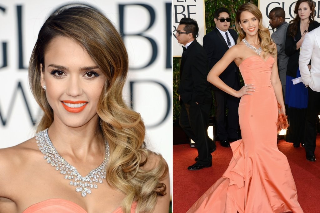 Hollywood Glam Wedding Hair Jessica Alba Golden Globes 2013