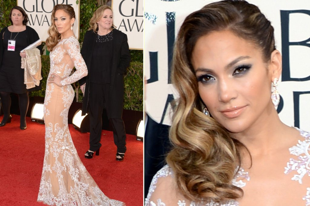 Retro Waves J Lo at 2013 Golden Globes