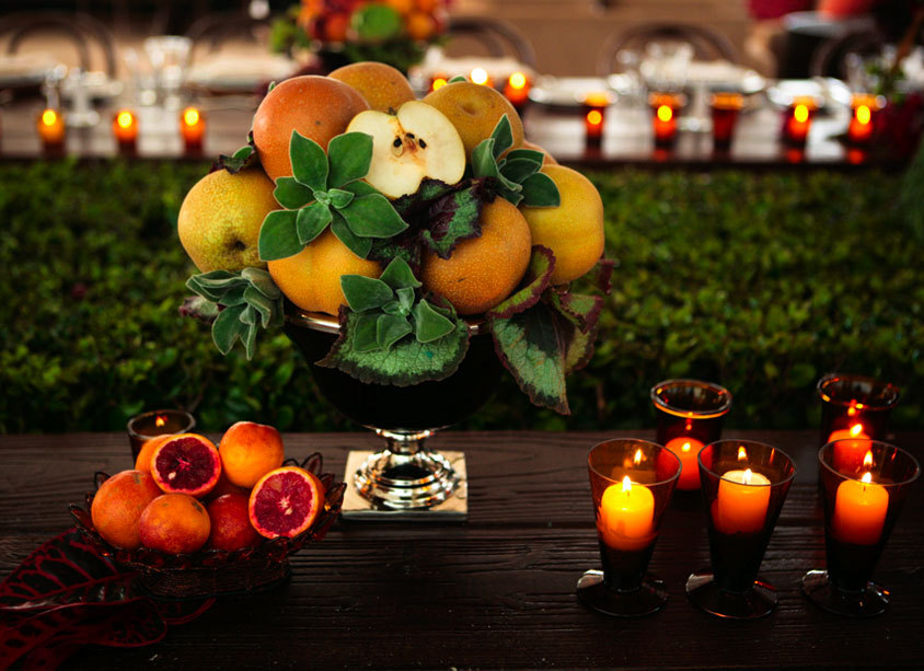 Unique Wedding Centerpiece Made with Fruit