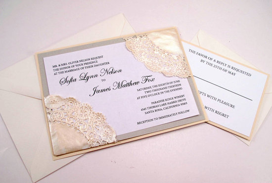 Lace Doily Wedding Invitation