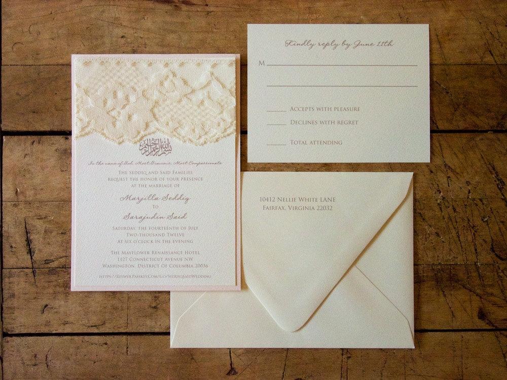 Lace Adorned Wedding Invitation – Elegant Lace Wedding Invitations