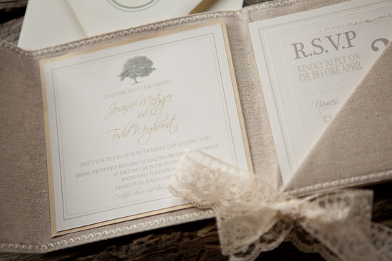 Linen and Lace Wedding Invitation