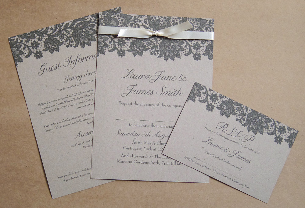 Kraft Paper Wedding Invitation With Black Lace Design