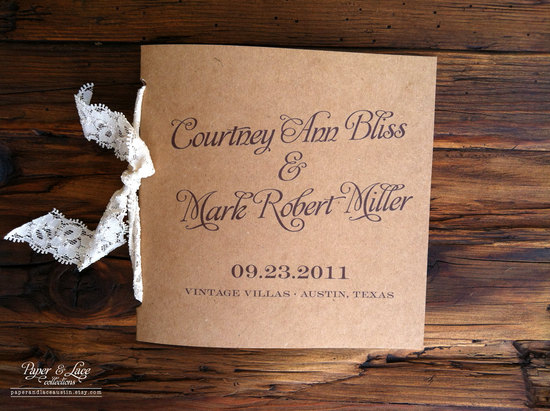 Lace Tied Rustic Wedding Programs