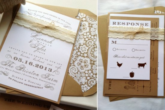 Rustic Romance Lace Adorned Wedding Invite Suite