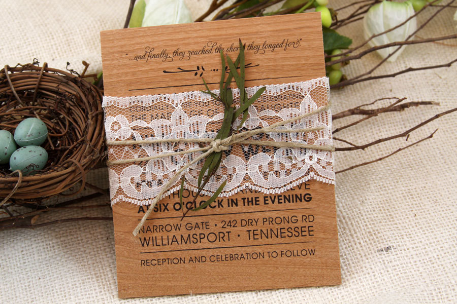 rustic wood wedding invitation with lace belly band - Wood Wedding Invitations
