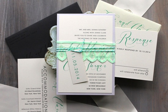 Mint Lace Detail on Modern Romantic Wedding Invitations