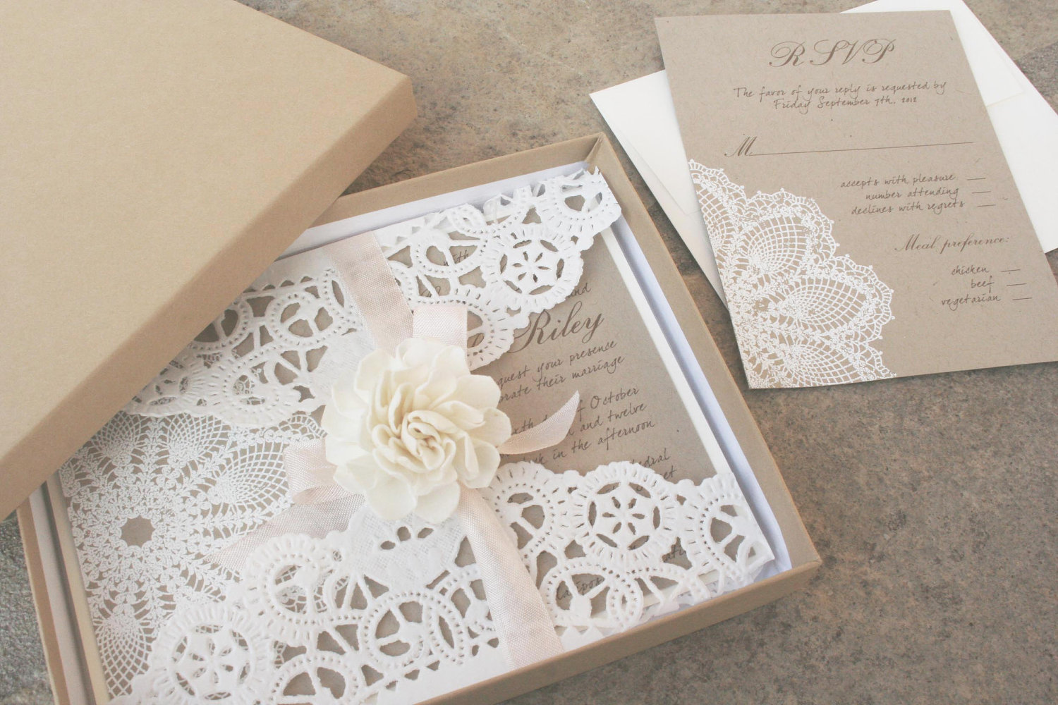 Lace and Kraft Paper Boxed Wedding Invitations OneWedcom 2dr5hUR3