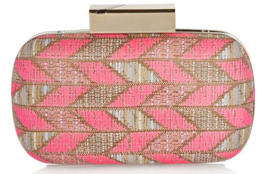 Pink Gold Chevron Bridal Clutch