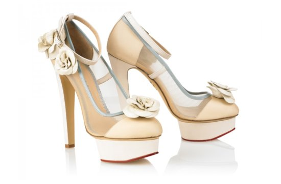 Ivory and Taupe High Heel Wedding Shoes