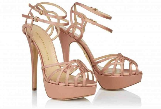 Blush Pink Strappy Wedding Shoes