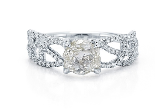 Rough Diamond Engagement Ring Interweaving Band