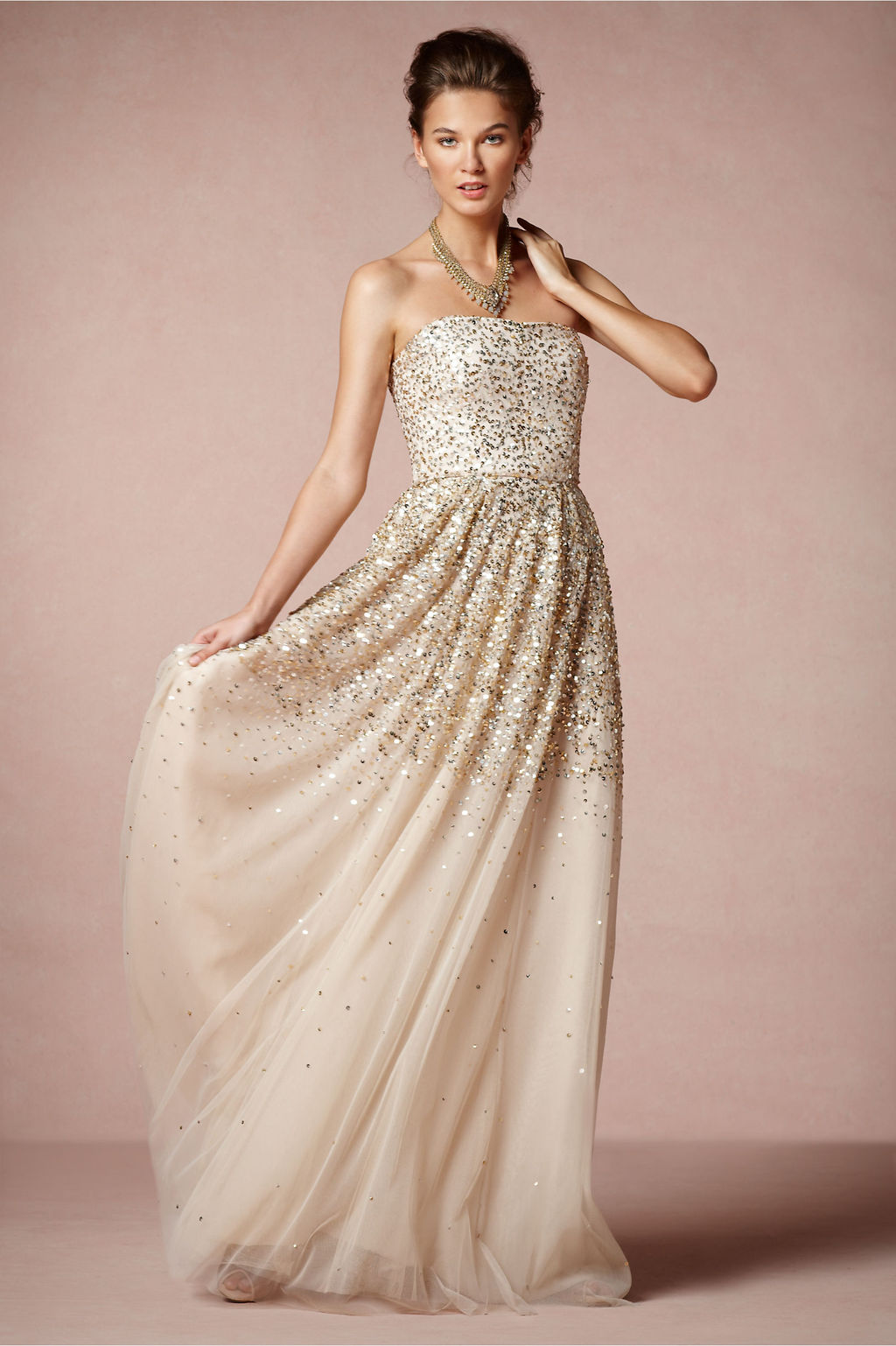 Gold Sparkle Wedding Dress by BHLDN