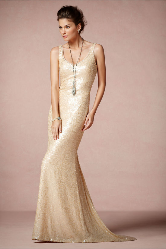 Champagne Scoop Neck Wedding Dress
