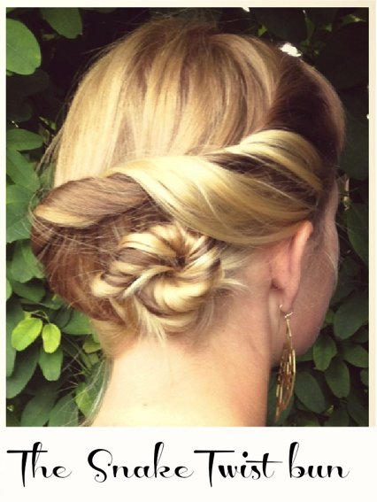 How To hair Girl DIY Wedding Hairstyle Snake Twist Bun 4