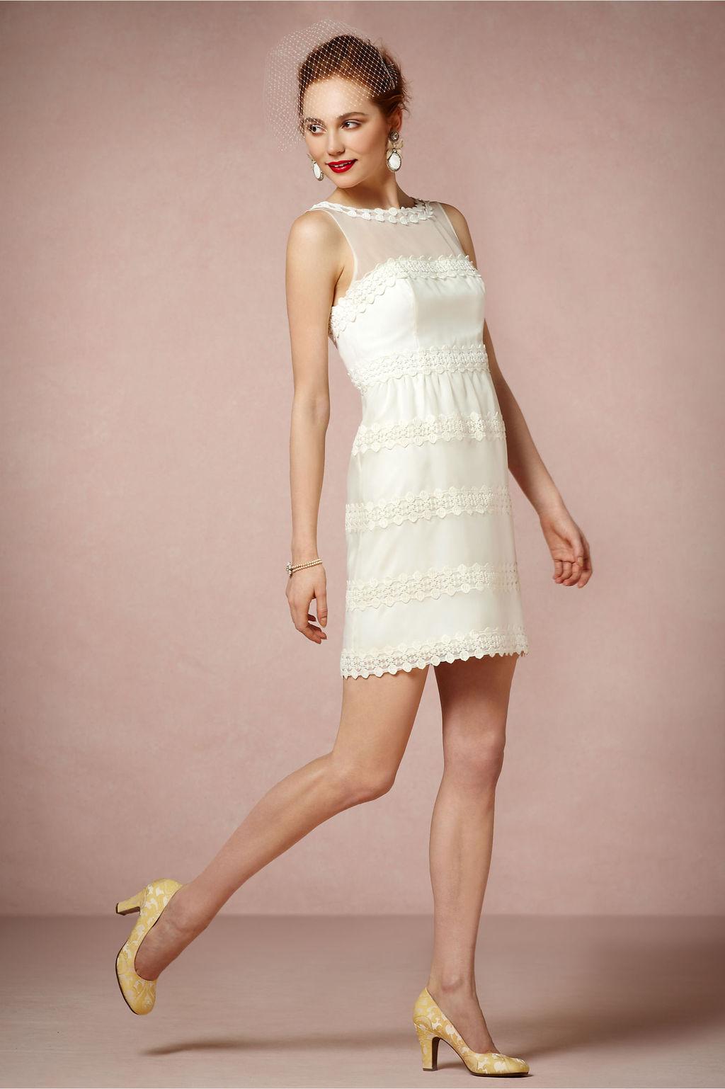 Ivory Wedding Reception Dress with Illusion Neckline