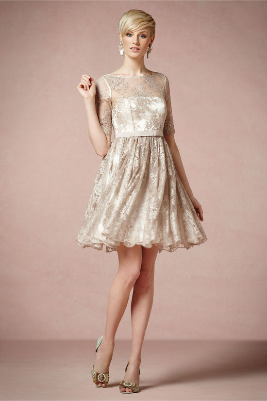 Metallic Beige Lace LWD