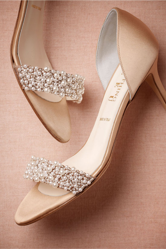 Pearl and Peach Wedding Heels
