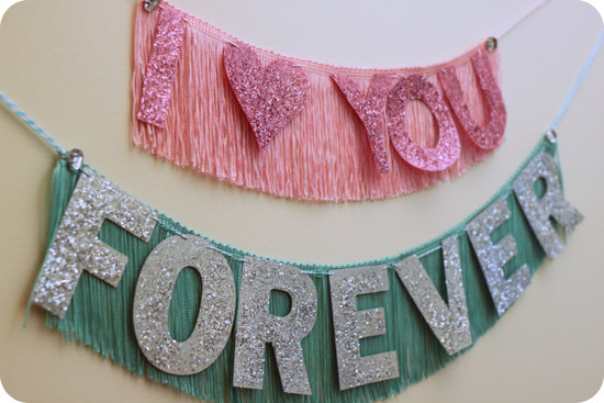 Sparkly Fringy Wedding Sign